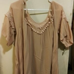 Tops - Mossimo Cold Shoulder Crinkled Baby Doll Top 2X